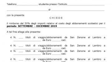 RICHIESTA RIMBORSO 50% IMPORTI MEZZI DI TRASPORTO PUBBLICI ANNO SCOLASTICO 2018/2019. – PERIODO SETTEMBRE  – DICEMBRE 2019